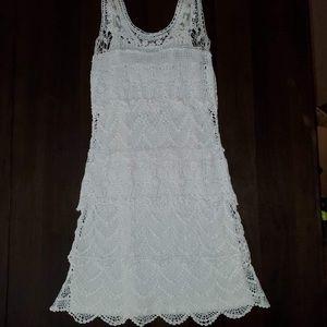 White Crochet Mini Dress w/ Slip